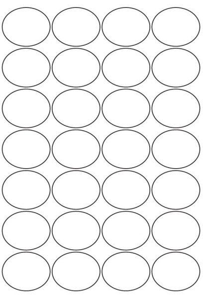 38mm x 47mm Oval Inkjet & Laser Printer A4 Sticker Sheet Labels