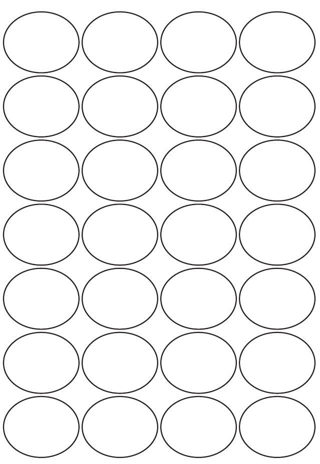 38mm x 47mm Oval Inkjet & Laser Printer A4 Sticker Sheet Labels