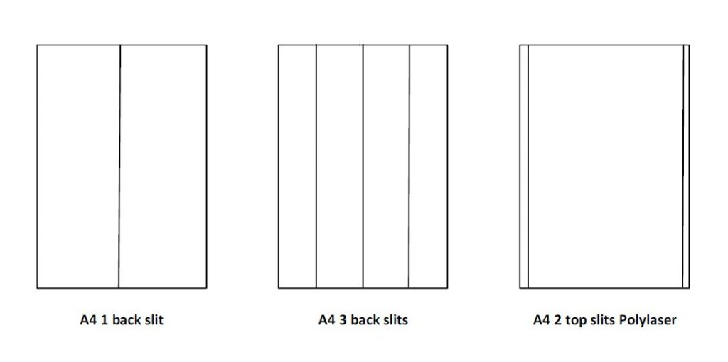 A4 slit back products