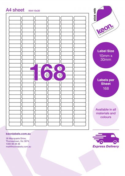10mm x 30mm labels on an A4 label sheet template showing 168 labels per sheet