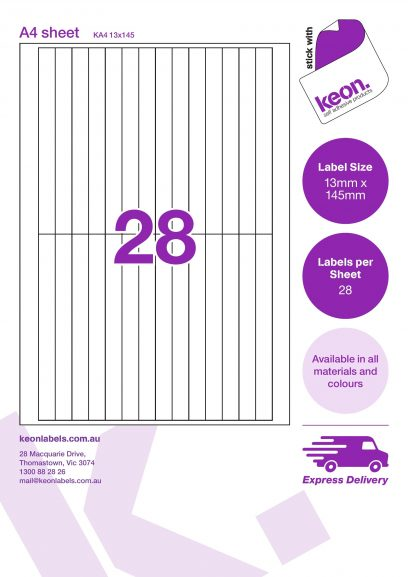 13mm x 145mm labels on an A4 label sheet template showing 28 labels per sheet