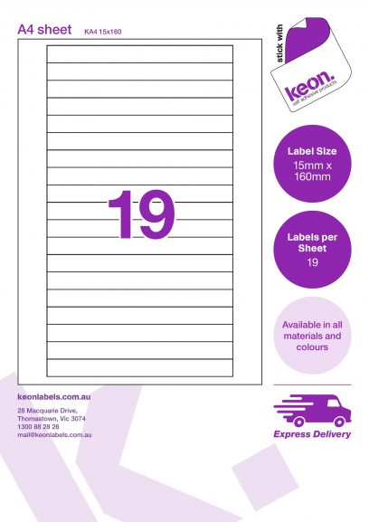 15mm x 160mm labels on an A4 label sheet template showing 19 labels per sheet