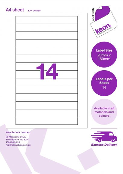 20mm x 160mm labels on an A4 label sheet template showing 14 labels per sheet