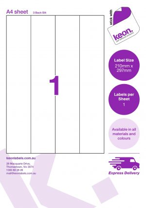 210mm X 297mm A4 LABEL SHEETS WITH THREE BACK SLITS R101