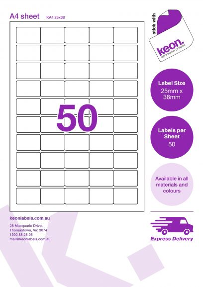 25mm x 38mm labels on an A4 label sheet template showing 50 labels per sheet