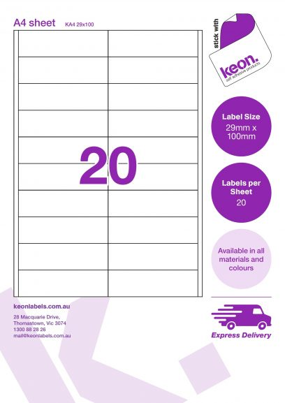 29mm x 100mm labels on an A4 label sheet template showing 20 labels per sheet