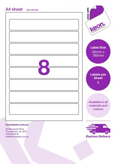 30mm x 190mm labels on an A4 label sheet template showing 8 labels per sheet