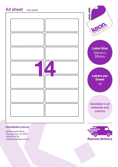 35mm x 90mm labels on an A4 label sheet template showing 14 labels per sheet