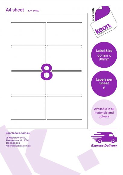 60mm x 90mm labels on an A4 label sheet template showing 8 labels per sheet