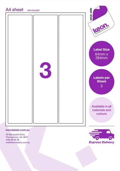 64mm x 284mm labels on an A4 label sheet template showing 3 labels per sheet
