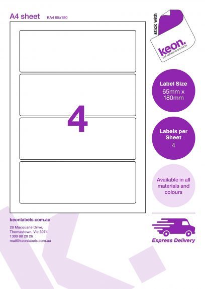 65mm x 180mm labels on an A4 label sheet template showing 4 labels per sheet