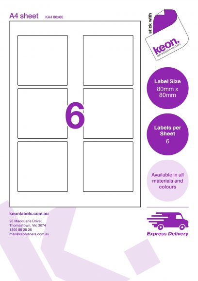 80mm x 80mm square labels on an A4 label sheet template showing 6 labels per sheet