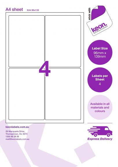 96mm x 139mm labels on an A4 label sheet template showing 4 labels per sheet