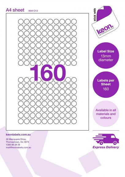 13mm diameter round labels on an A4 label sheet template showing 160 labels per sheet