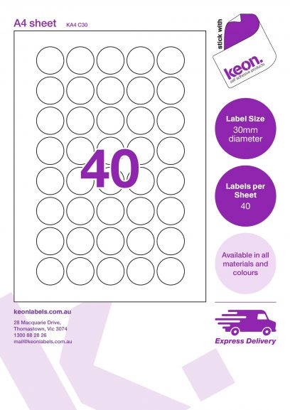 30mm diameter round labels on an A4 label sheet template showing 40 labels per sheet