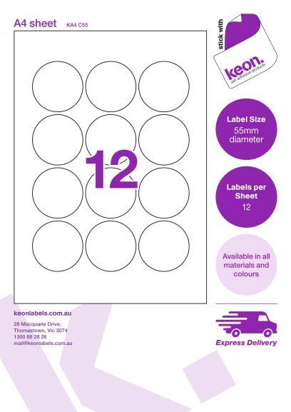 55mm diameter round labels on an A4 label sheet template showing 12 labels per sheet