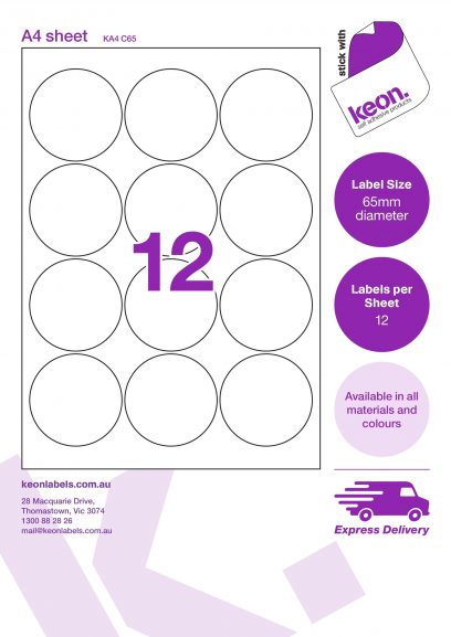 65mm diameter round labels on an A4 label sheet template showing 12 labels per sheet