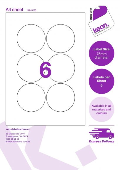 75mm diameter round labels on an A4 label sheet template showing 6 labels per sheet