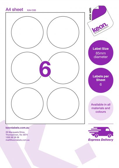 85mm diameter round labels on an A4 label sheet template showing 6 labels per sheet