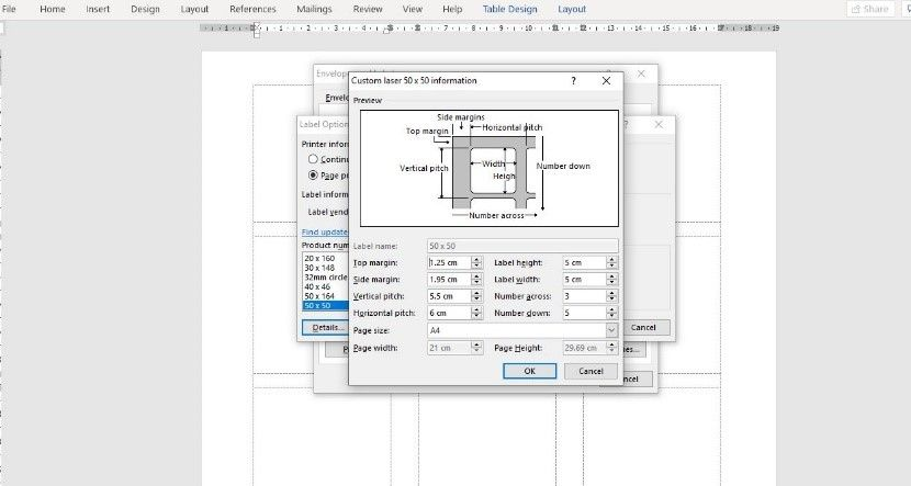 entering dimensions into a Microsoft word label template